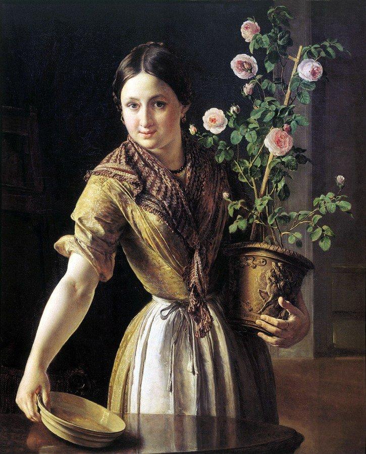 Девушка с горшком роз, выполненная В. А. Тропининым