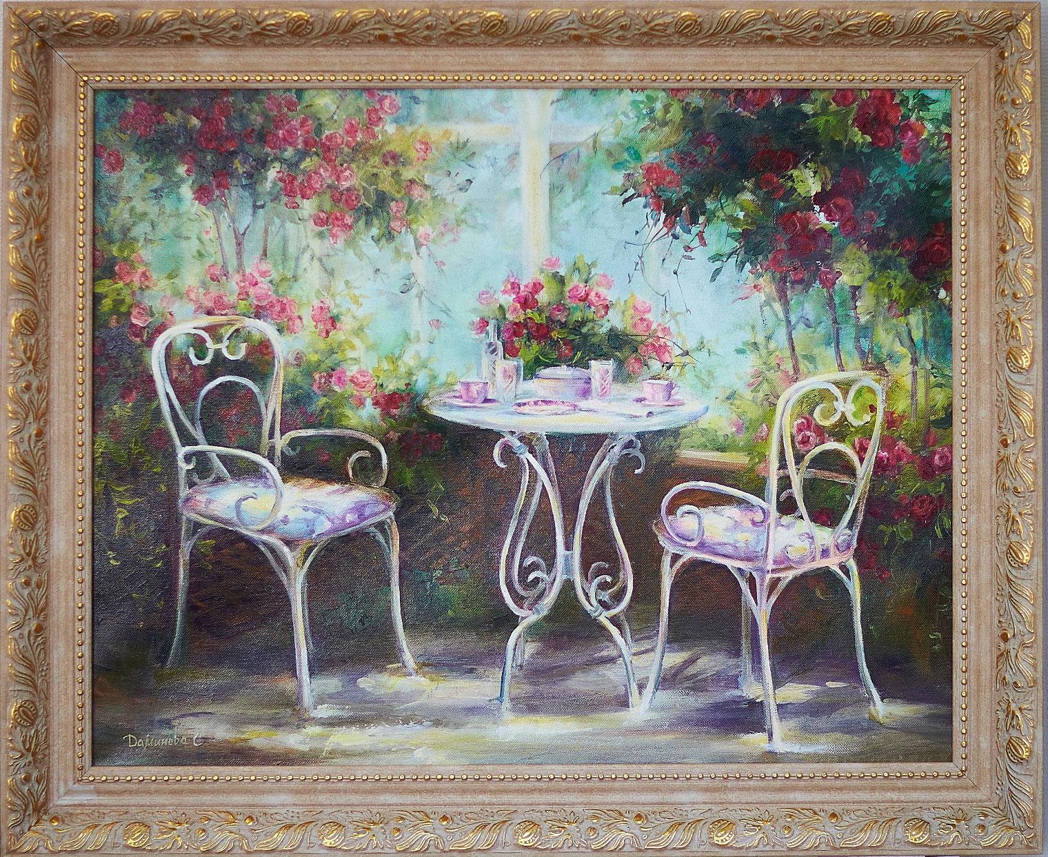 Зимний сад на картине