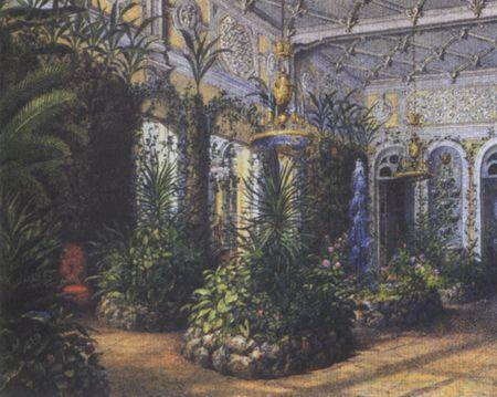 Зимний сад на картине Садовникова