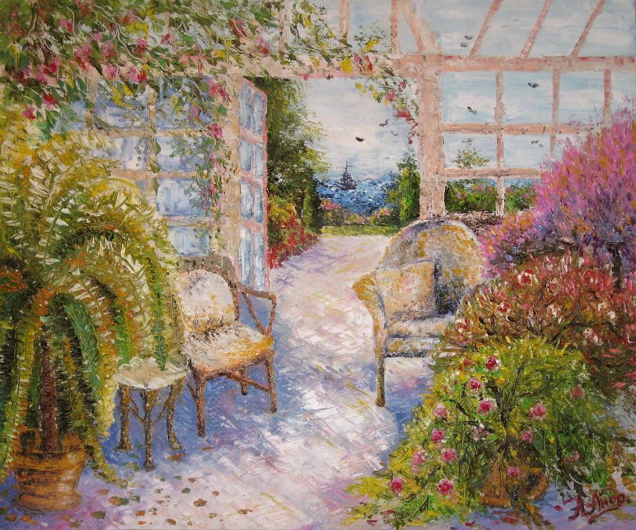 Зимний сад на полотне