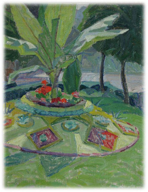 Пейзаж с пальмой и цветущей клумбой - А. Богомазова