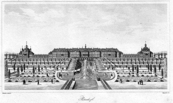 Гравюра - Большой каскад и дворец в Петергофе