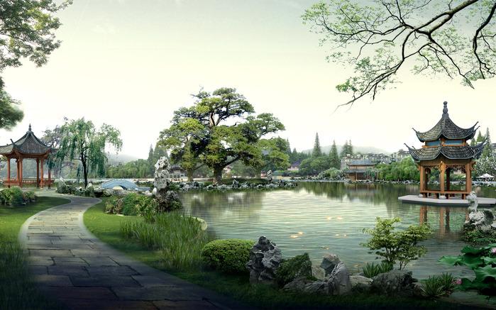 Восточные сады в России: Парк Уаншиюань и Гэюань. Водоем - один из главных героев...
