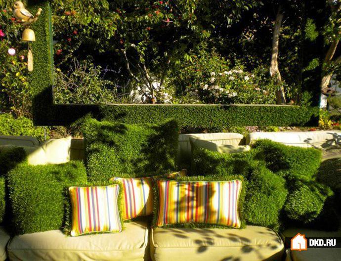 Декоративный мох в интерьере веранды вашей дачи.