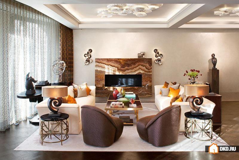 Шикарный дизайн интерьера в модном сером и темно-коричневом