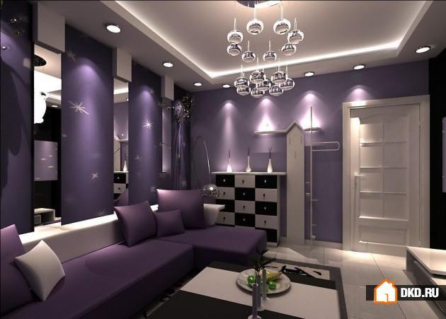 Интерьер в серо фиолетовых тонах фото