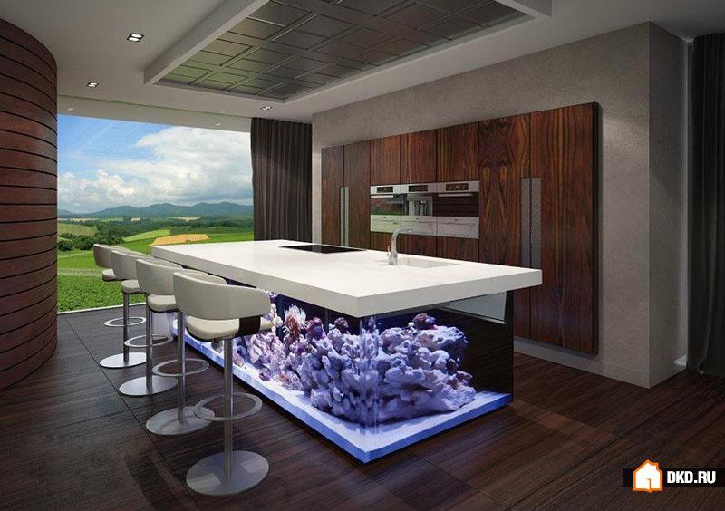 Океан на кухне. Гигантский кухонный остров с аквариумом от Robert Kolenik