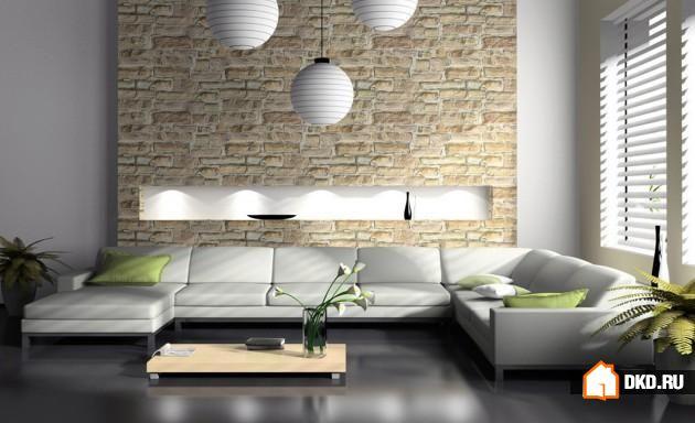 Каменная стена в Вашей гостиной – 17 ослепительных идей