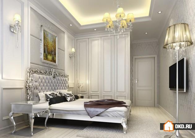 Королевская спальня в серебристых тонах