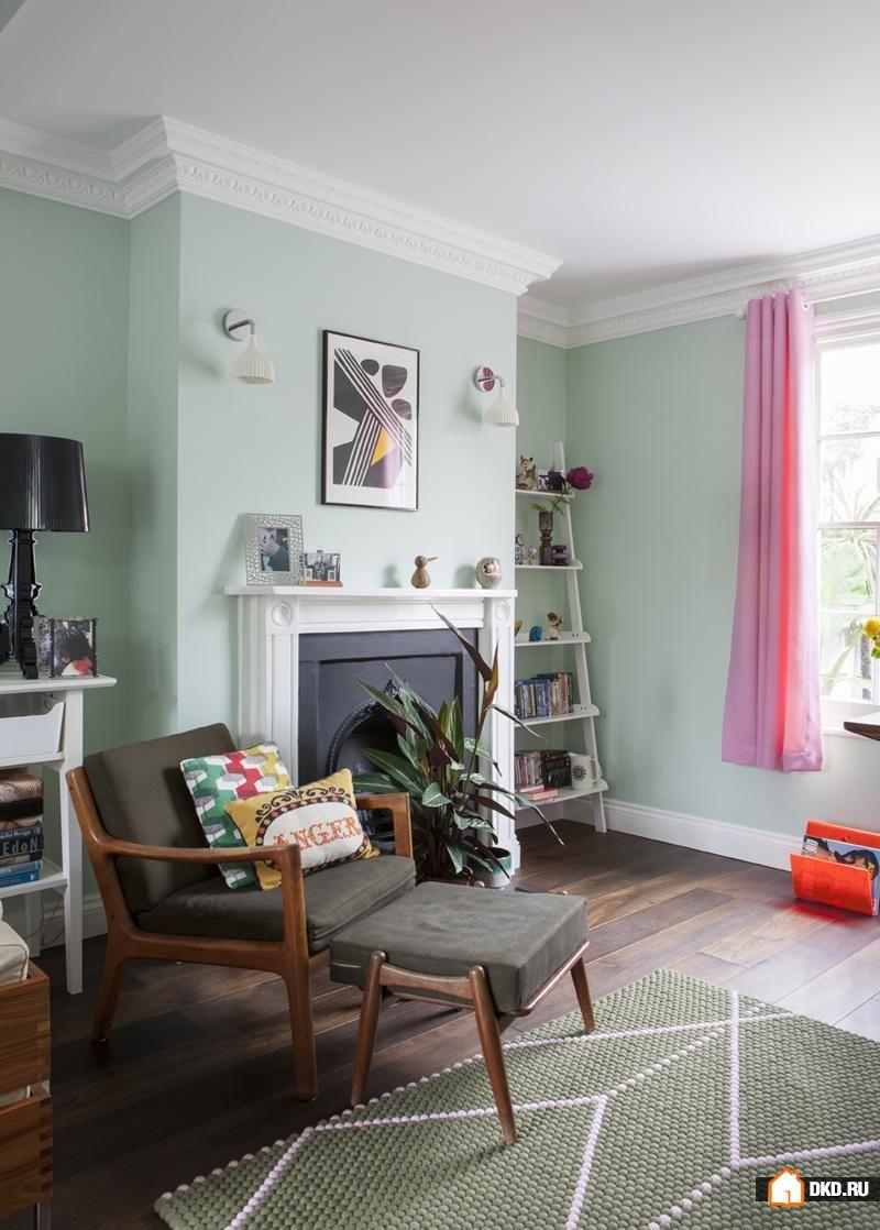 Дизайн гостиной в мятных тонах фото