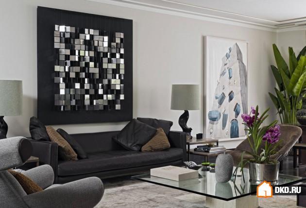 17 Элегантных современных идей настенного искусства, чтобы создать в гостиной оживленную атмосферу