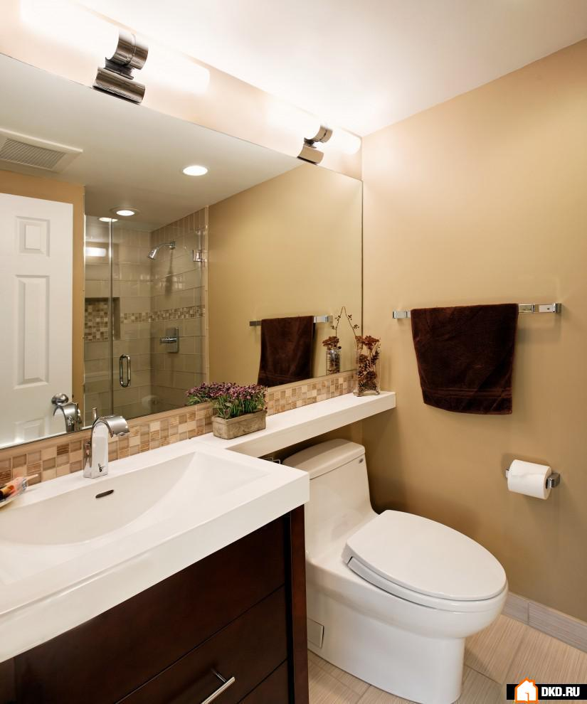 Дизайн ванных комнат с большим зеркалом